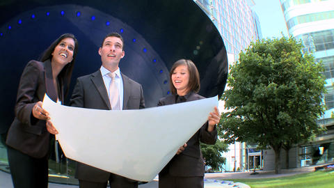 Young graduate architects facilitating city construction... Stock Video Footage