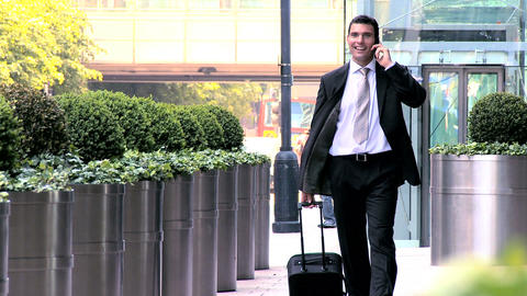 Smart young city businessman preparing to travel from city airport Footage