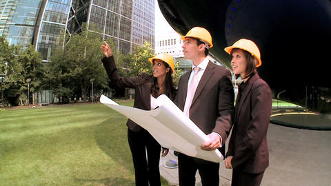 Graduate architects facilitating city construction plans(with steadicam) Footage