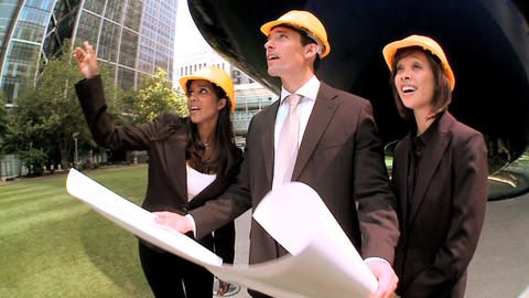 Graduate architects facilitating city construction... Stock Video Footage