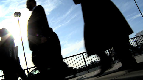 Commuters silhouette Stock Video Footage
