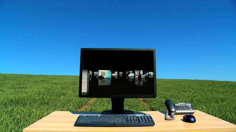 Modern technology with business people graphics in a... Stock Video Footage