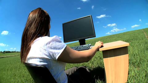 Young businesswoman in city clothes working in conceptual... Stock Video Footage