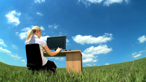 Young businesswoman in conceptual office w/out walls... Stock Video Footage