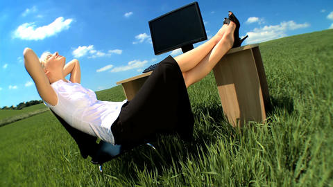 Young businesswoman in environmental workplace... Stock Video Footage