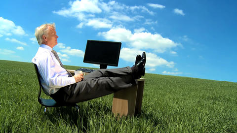 Businessman in environmental workplace daydreaming of a... Stock Video Footage