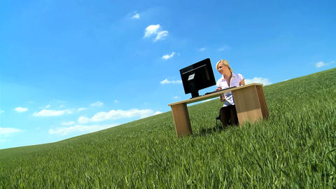 Young businesswoman in city clothes working in... Stock Video Footage