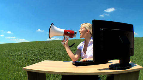 Young businesswoman in concept office shouting her... Stock Video Footage