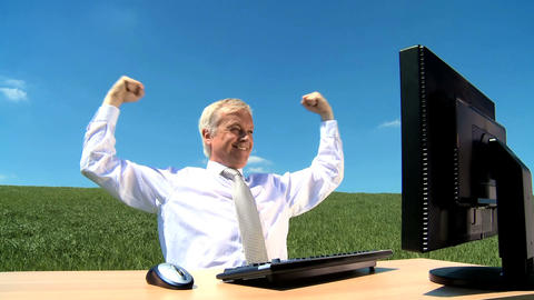 Bussinessman in conceptual office celebrating his success Stock Video Footage