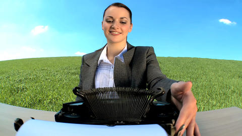 Young businesswoman in city clothes using old-fashioned... Stock Video Footage