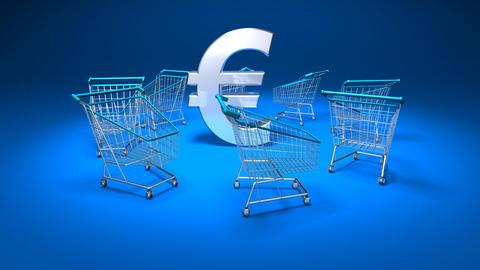 shopping cart euro1 Stock Video Footage