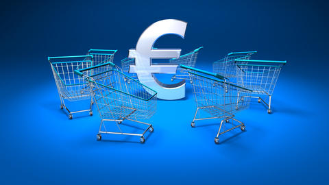 shopping cart euro1 Stock Video Footage