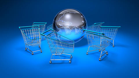 shopping cart world 1 Stock Video Footage
