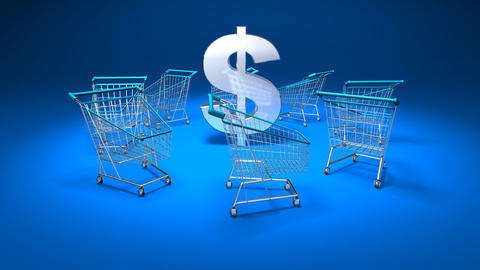 shopping cart dollar 1 Stock Video Footage