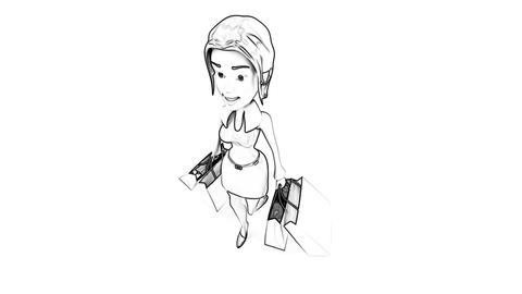 shopping girl top angle toon Stock Video Footage