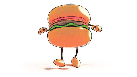 Toon Burger Hiphop 1 stock footage