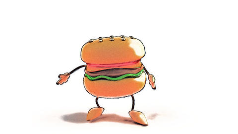 Toon Burger Jump stock footage