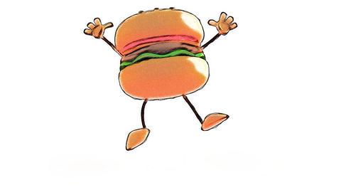 toon burger jump Stock Video Footage