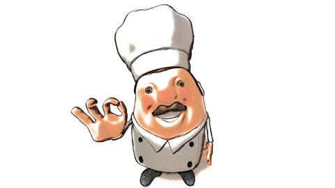 toon chef right Stock Video Footage