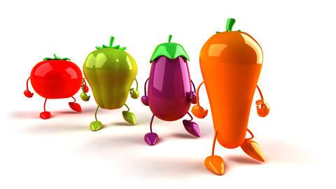 vegetables walk 2 Stock Video Footage