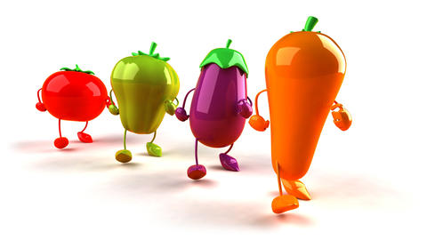vegetables walk 2 Animation