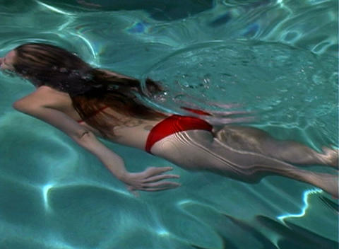 Sexy, Bikini-clad Blonde in a Swimming Pool-2 Stock Video Footage