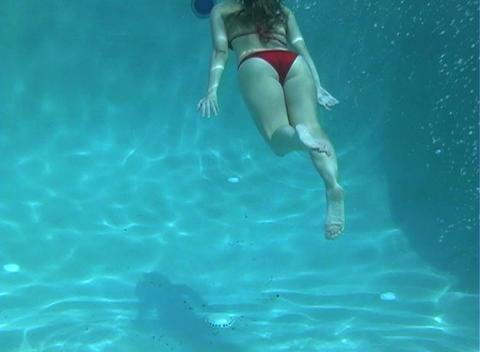 Sexy, Bikini-clad Blonde Underwater-2 Footage