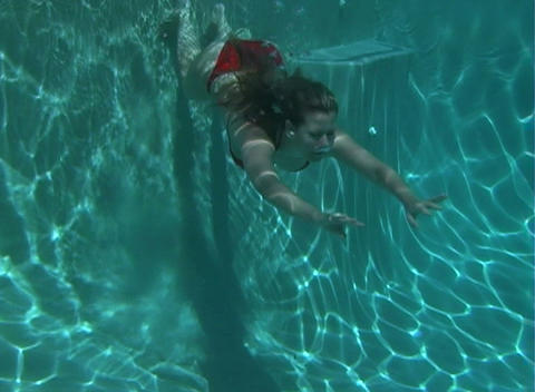 Sexy, Bikini-clad Blonde Underwater-4 Stock Video Footage