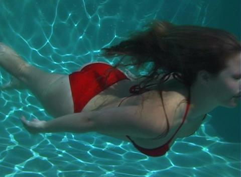 Sexy, Bikini-clad Blonde Underwater-4 Footage