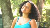 Beautiful Young Woman Outdoors Blows A Kiss stock footage