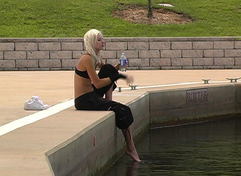 Beautiful Blonde Resting Outdoors Stock Video Footage