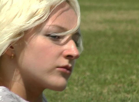 Beautiful Blonde Outdoors Footage