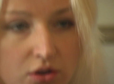 Close-up of a Beautiful Blonde, Interior Stock Video Footage