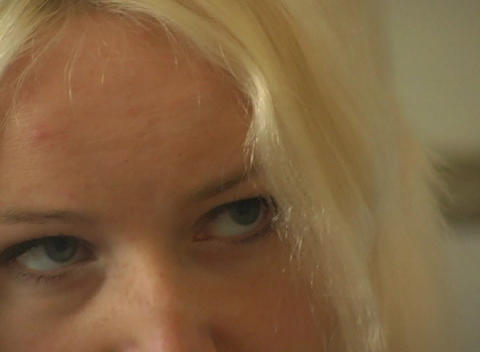 Close-up of a Beautiful Blonde, Interior Footage