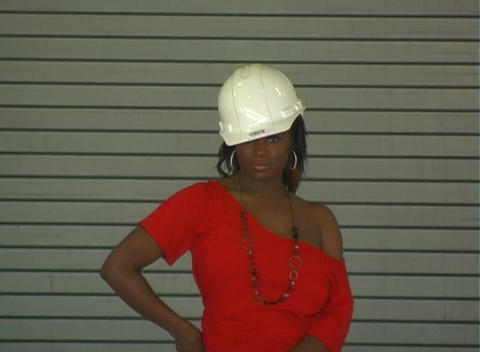 Hot Young Woman with a Hardhat (Medium Shot) Stock Video Footage