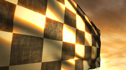 Checkered Race Flag and Sunset Blowing in Wind Stock Video Footage