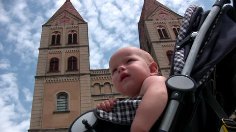 Baby on troller Stock Video Footage