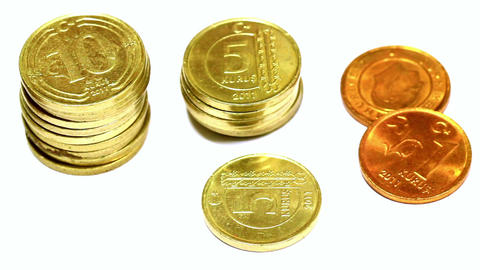 Stacks of Coins. Closeup, Pan Video Stock Video Footage