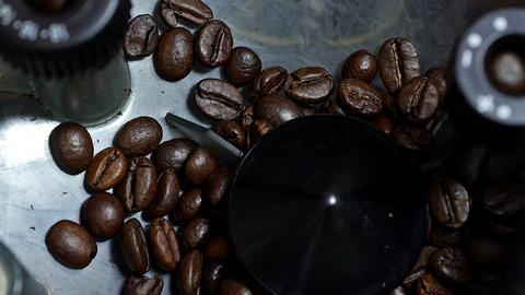 Coffee beans inside grinder Stock Video Footage