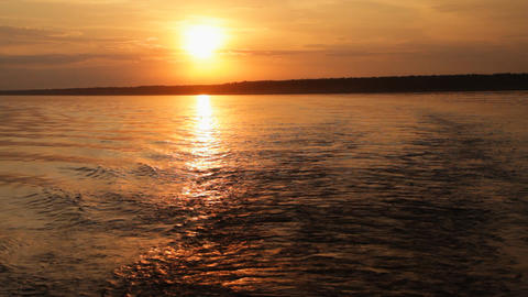 Sundown on river Stock Video Footage