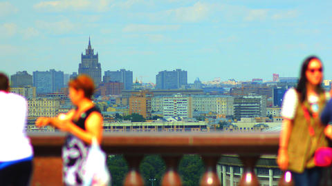 tourists on observation deck Vorobyovy Gory time l Footage