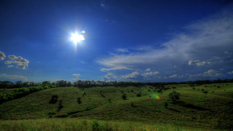 Timelapse HDR. Beautiful Landscape Pastures Stock Video Footage