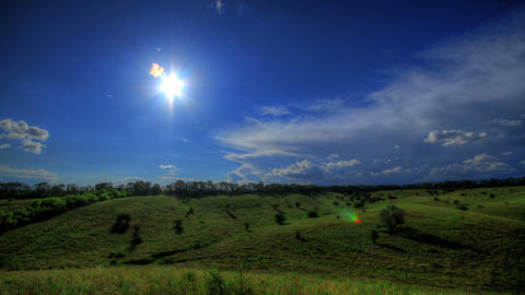 Timelapse HDR. Beautiful Landscape Pastures Footage