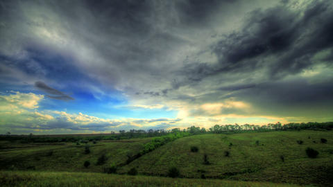 Timelapse HDR. Beautiful Landscape With Storm Clou Stock Video Footage