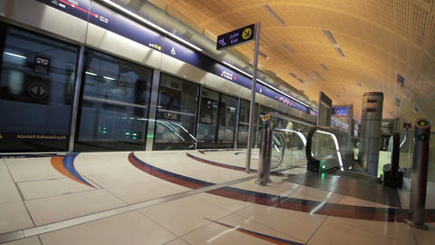 DUBAI - APRIL 25: Dubai Metro With Passengers. Mos Stock Video Footage