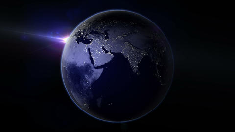 Night Earth Rotation 01 CG動画
