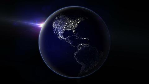 Night Earth Rotation 01 Stock Video Footage