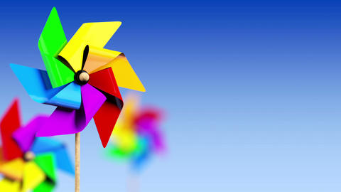 Colored Spinning Pinwheel in the Wind Stock Video Footage