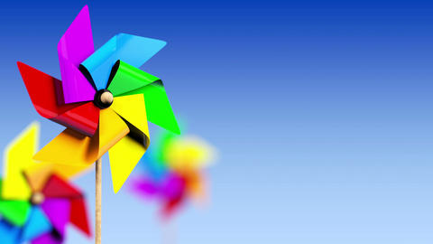 Colored Spinning Pinwheel In The Wind stock footage