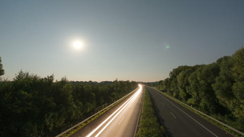 4k UHD Time lapse highway moon rise 11007 Stock Video Footage